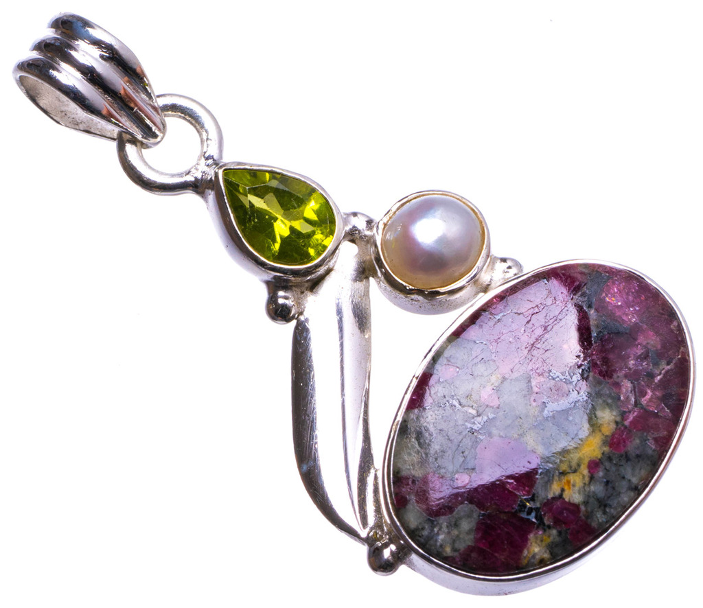 цена на Natural Ruby Zoisite,River Pearl and Peridot Handmade Unique 925 Sterling Silver Pendant 1.5