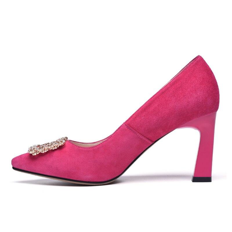 Daim Hauts khaki Bout red Pointu Chaussures Talons Kid En Doux Cristal À Black Pour Élégant Univers Femmes Pompes Habillées Décoré E013 AYzqz1