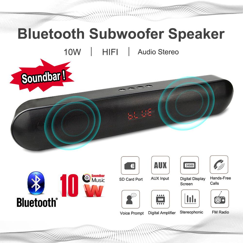 Soundbar Big Power 10W HIFI Portable Wireless Bluetooth Speaker Audio Stereo Hands-Free TF FM USB Subwoofer Column for Phone usb wireless bluetooth audio receiver board mp3 music computer subwoofer stereo mini portable active hifi speaker for phone