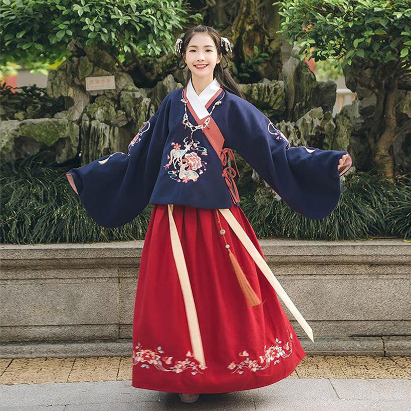Embroidery Hanfu For Women Singers Traditional Stage Wear Folk Dress Festival Outfit Adult Ming Dynasty Cosplay Clothes DC1854