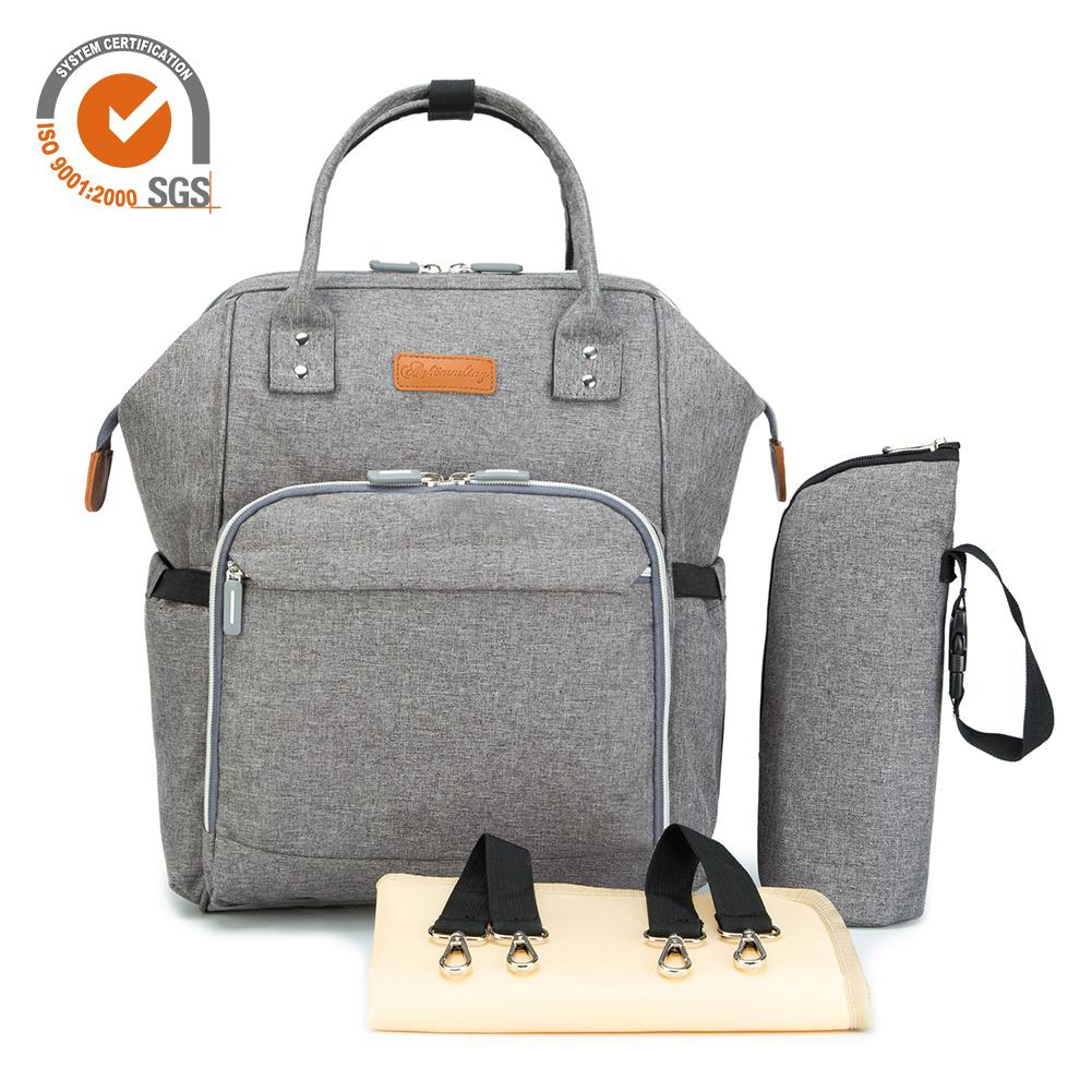 Multifunctional Fashionable Large-Capacity Nappy Bag Backpack With Wide Open Design Changing Pad Insulated Cooler Pocket button design tee with pocket