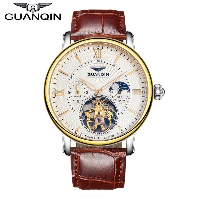 2016 homens relógios de luxo top marca guanqin relógio de ouro de couro relógio do esporte homens relógio de pulso com a fase da lua turbilhão automático