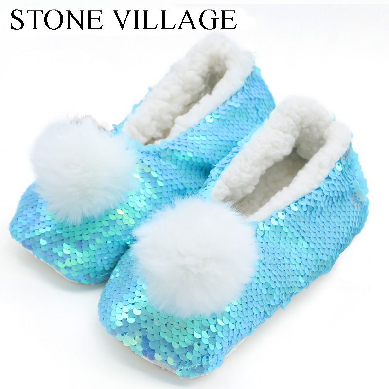 STONE VILLAGE Sequin Girls Slippers Cute Plush Ball  Home Slippers Children Warm Soft Plush Slippers  Indoor Slippers Shoes Kids