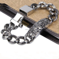 "9"" Cool Design Top Quality 105g Skull Biker Bracelet 316L Stainless Steel Hot Sale Men's Bracelet"