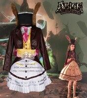 Les Aventures d'alice au Pays Des Merveilles Alice: Madness Returns poke rabit Cosplay Costume avec chapeau