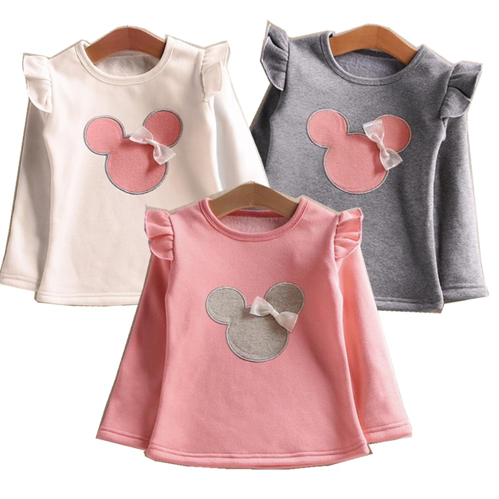 T-Shirt Kids Tops Long-Sleeve Toddler Baby-Girls Minnie Summer Child Bow for Tees-2-3-4-5-6-Years