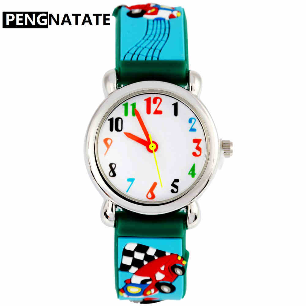 PENGNATATE Children Watches for Boys Fashion Blue 3D Cartoon Racing Car Strap Bracelet Wristwatch Student Kids Gifts Hand Watch joyrox minions pattern children watch 2017 hot despicable me cartoon leather strap quartz wristwatch boys girls kids clock