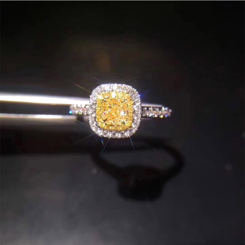 ANI 18K White Gold (AU750) Women Wedding Ring Certified VVS 0.32 Carat Princess Cut Real Yellow Diamond Halo Ring Fine Jewelry moissanite halo chain necklace lab diamond pendant neckalce women oval cut 0 5carat vvs def real 18k yellow gold charm jewelry