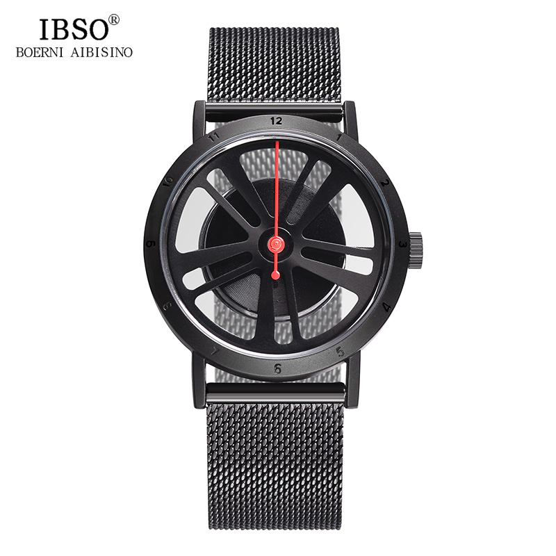 IBSO Brand Fashion Hollow Out Wheel Design Rotate Dial Quartz Watch Men Sport Locomotive Punk Style Mens Watch Relogio Masculino(China)