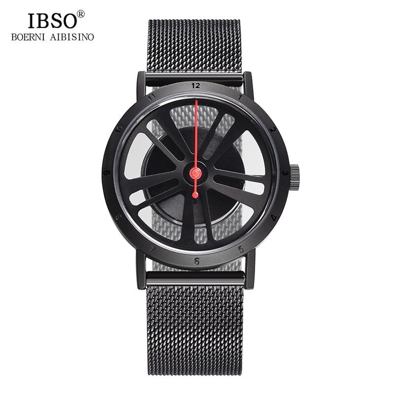 IBSO Brand Fashion Hollow Out Wheel Design Rotate Dial Quartz Watch Men Sport Locomotive Punk Style Mens Watch Relogio Masculino цена
