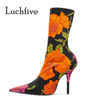 Luchfive Women S Boots Preppy Style Crocodile Print Ankle Boots For Women Patchwork Elastic Fabric High