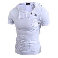 Summer Men T Shirts 2018 Fashion Slim Tops Tees Hooded Short Sleeve T Shirt Mens Clothing