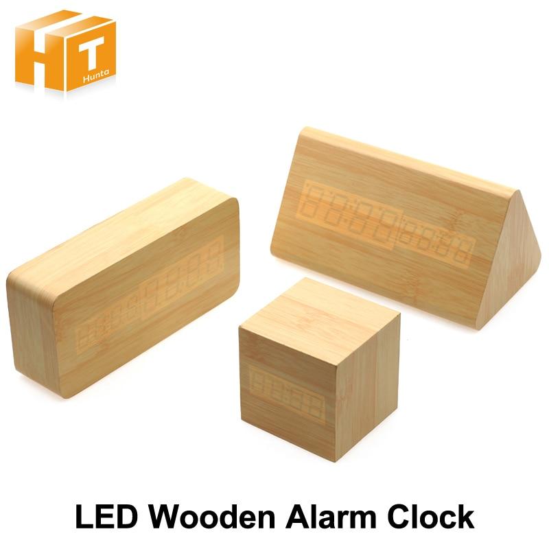 Wooden LED Alarm Clock Desktop Novelty Decoration Temperature Date Sounds Control Display Novelty Lighting