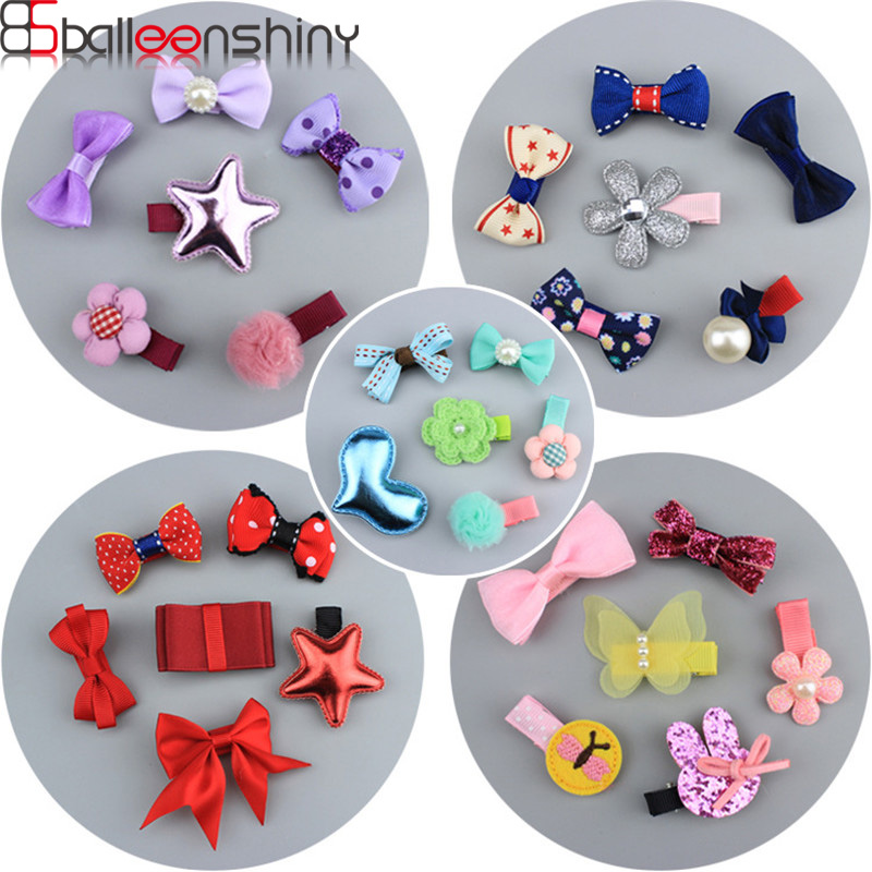 BalleenShiny 6Pc/set Baby Girls Bowkont Hair Clips Cute Infant Rabbit Ears Hairpin Kids Stars Barrette Headwear Accessories Gift lysumduoe headband black hairpin women clip s shape barrette girl hairgrip hairgrips children hairpins jewelry hair accessories