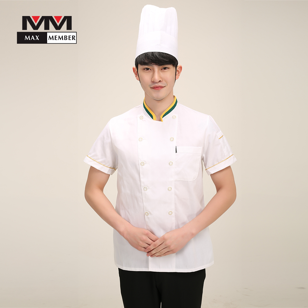 Men Food Service Workwear Kitchen Clothes Short Sleeve Summer Cooking T-shirt Chef Uniforms Restaurant Tops Casual Jackets 3XL