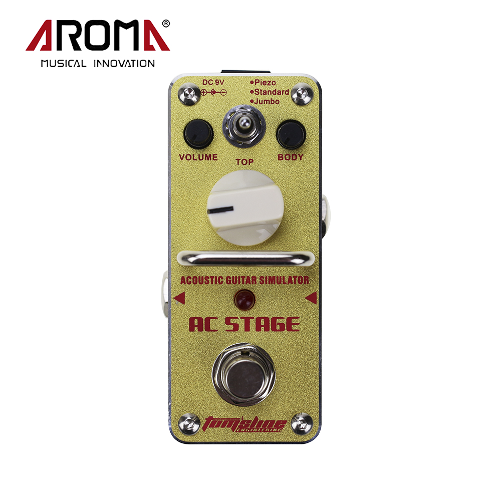 Aroma AAS-3 Mini Single Electric Guitar Effect Pedal AC Stage Acoustic Guitar Simulator Guitarra Accessory aroma adr 3 dumbler amp simulator guitar effect pedal mini single pedals with true bypass aluminium alloy guitar accessories