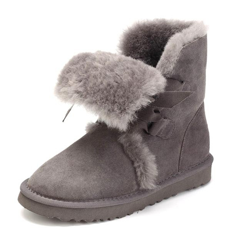 Cuwhf High Quality Women Natural Real Fox Fur Snow Boots Genuine Leather Fashion Women Boots Warm Female Winter Shoes Free Ship casual snow boots women fashion waterproof shoes female 35 45 fur 2018 winter leather high keep warm plush free shipping quality