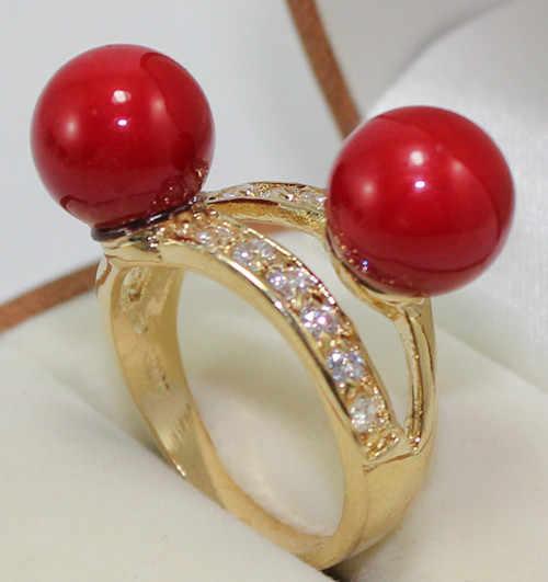 จัดส่งฟรี>>>@@ขายส่งน่ารัก6-8มิลลิเมตรสีแดงหยกลูกปัดเลดี้แฟชั่นแหวน(#7.8.9) #
