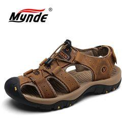 Mynde Marca Genuínos Homens de Couro Sapatos de Verão Novo Tamanho Grande dos homens Sandálias Homens Sandálias Sandálias Da Moda Chinelos Tamanho Grande 38-47