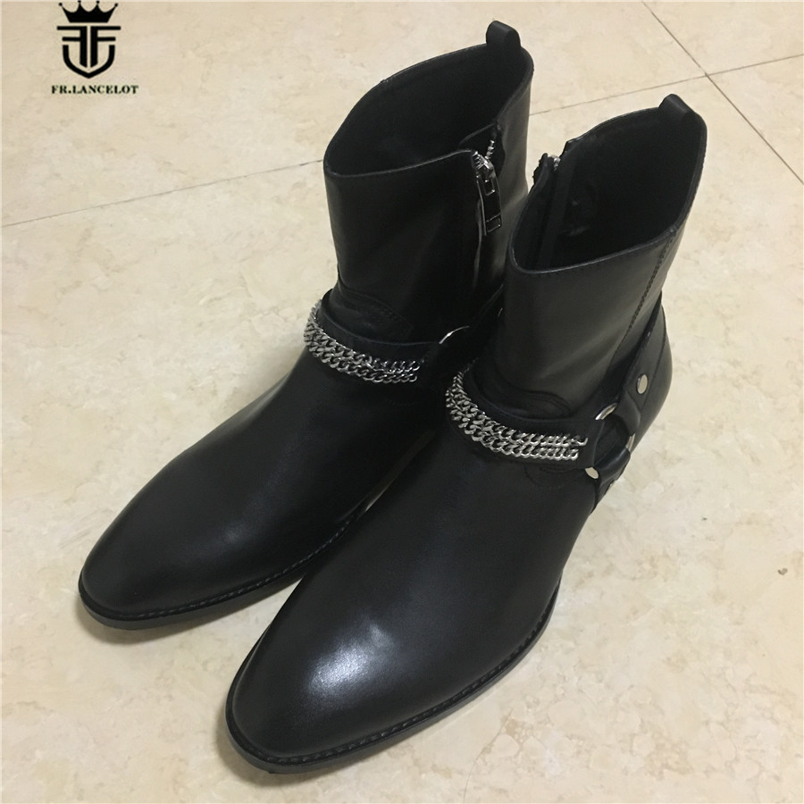 Real Picture Handmade Genuine Leather Chain High Boots Wyatt Men Western Catwalk Fashion Wedge BootsReal Picture Handmade Genuine Leather Chain High Boots Wyatt Men Western Catwalk Fashion Wedge Boots