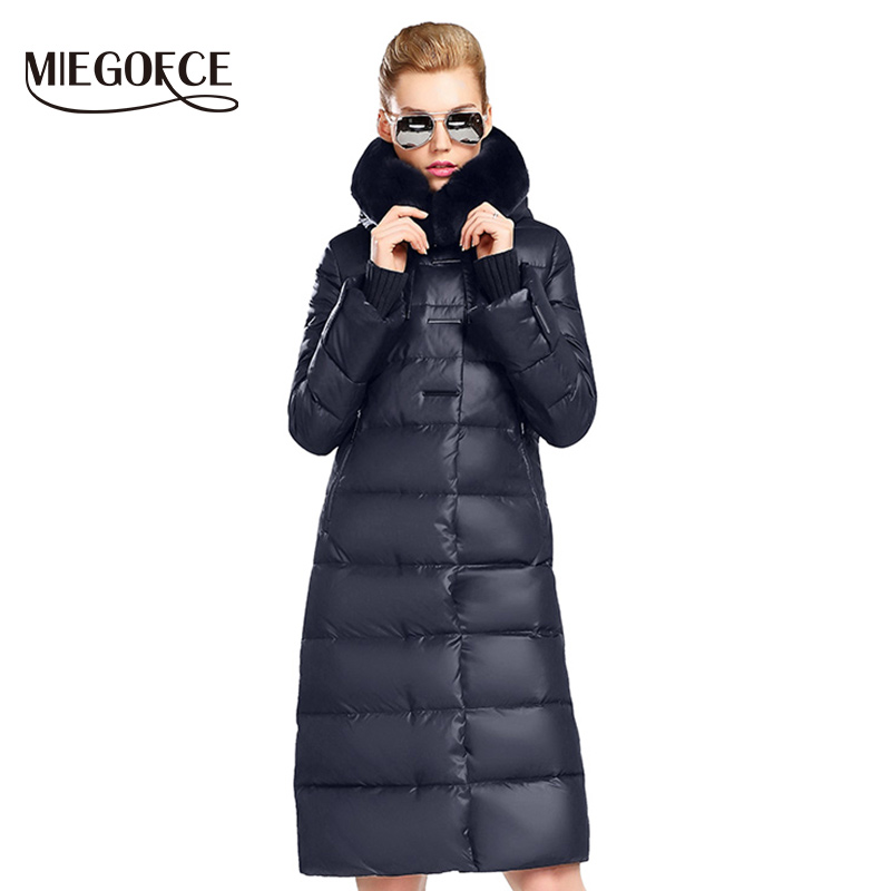 MIEGOFCE 2017 Women's Coat Jacket Medium Length Women   Parka   With a Rabbit Fur Winter Thick Coat Women New Winter Collection Hot