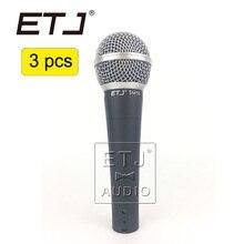 SM 58LC ETJ Marca 3 pcs de Alta Qualidade Por Atacado Frete Grátis Handheld Karaoke Microfone Com Fio Dinâmico Vocal Microfone SM 58