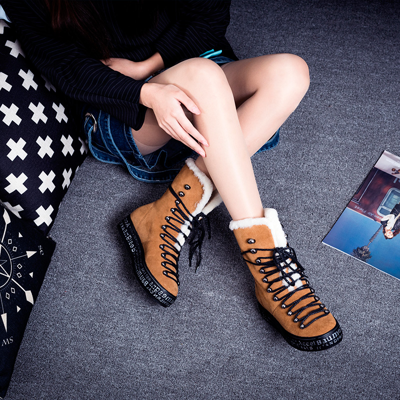 ФОТО 2017 Hot Selling Natural 100% Wool Women Winter Shoes Warmest Genuine Leather Handmade Fashion Lace Up Platform Boots 34-40