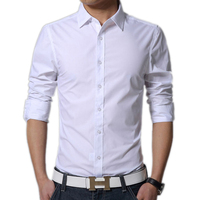 Mens Dress Shirts Slim Fit Solid 17 Color New Brand 3XL Fashion Long Sleeve Camisas Social