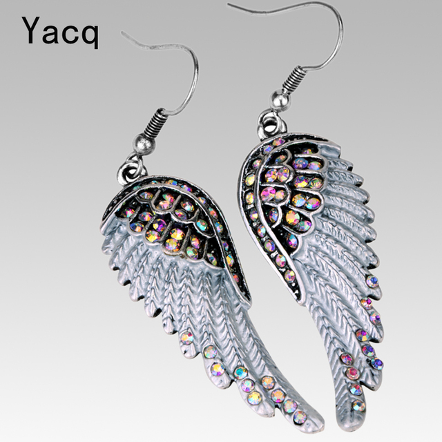 Angel wings dangle earrings antique gold silver color W crystal women girls biker bling jewelry gift wholesale dropshipping EC23