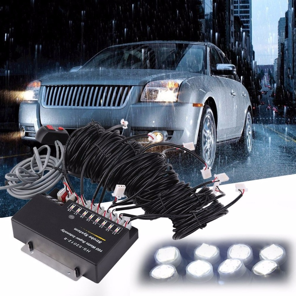 LESHP Universal 160W White Flash Strobe Light with 8 LED Bulbs Super Bright Car Truck Emergency Warning Light Lamp Free Shipping free shipping high power 72w car cob warning light car styling external emergency strobe light bar flash white lamp