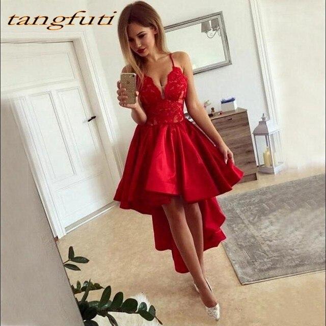 db2550c85 Vestidos de Cóctel de encaje corto rojo para graduación fiesta de  graduación vestido de coctel de