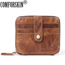 COMFORSKIN New Arrivals Multi-function Coin Purse 2018 Brand Designer Genuine Leather Vintage Style Small Wallet High Quality