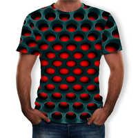 Camiseta de talla grande para hombre 2019 verano geométrico círculo 3D impreso Top camisetas moda O-Cuello manga corta Casual Suelto camisas de hombre