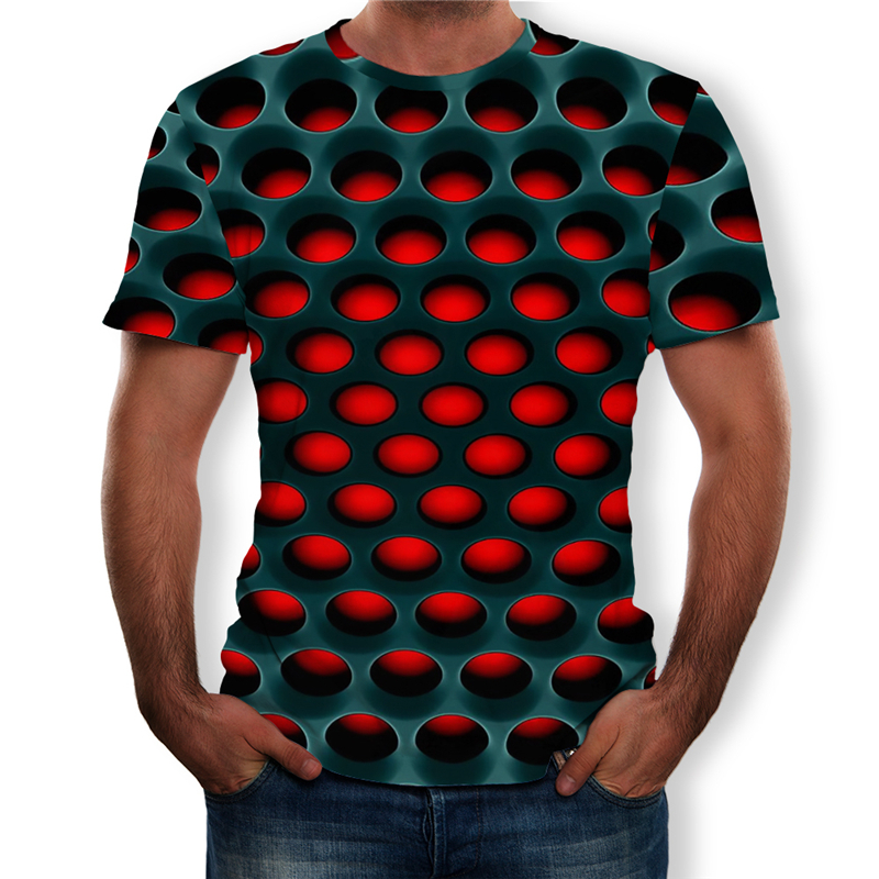 Large Size Men T-Shirt 2019 Summer Geometric Circle 3D Printed Top Tees Fashion O--Neck Short Sleeve Casual Loose Men Shirts