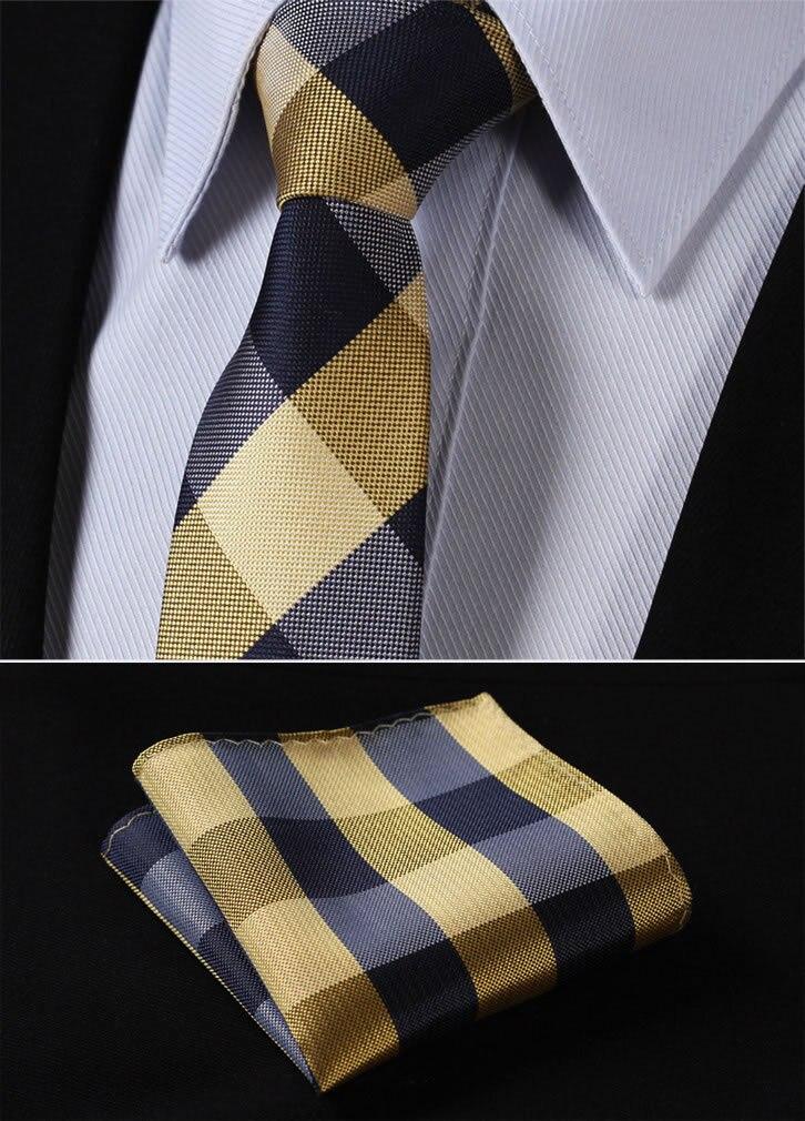 """TC4029Y7 Yellow Navy Blue Check 2.75"""" 100%Silk Woven Slim Skinny Narrow Men Tie Necktie Handkerchief Pocket Square Suit Set"""