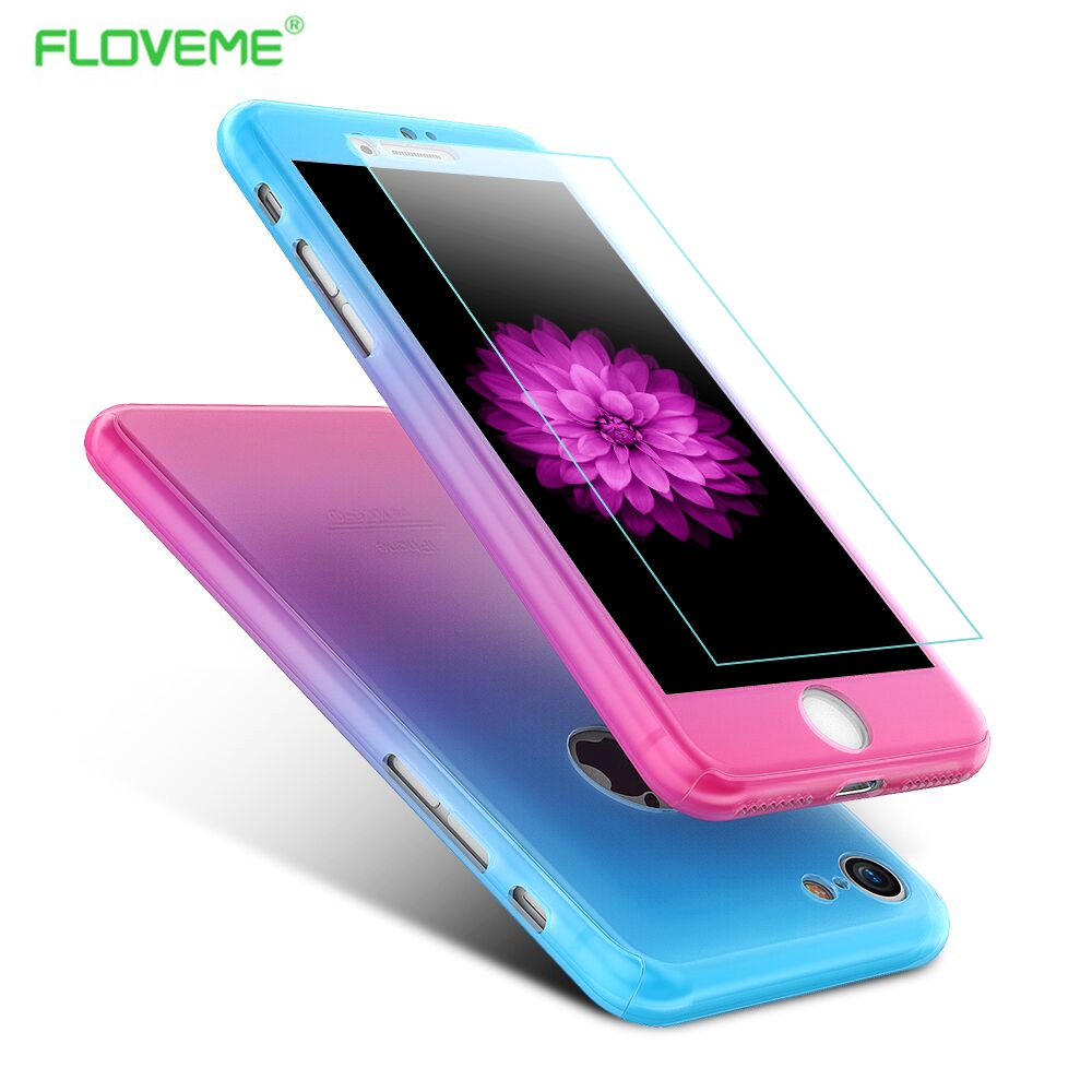 FLOVEME Fashion Gradient Color 360 Degree Full Body Protection Cover Cases For iPhone 6S 7 Plus Case With Glass Screen Protector