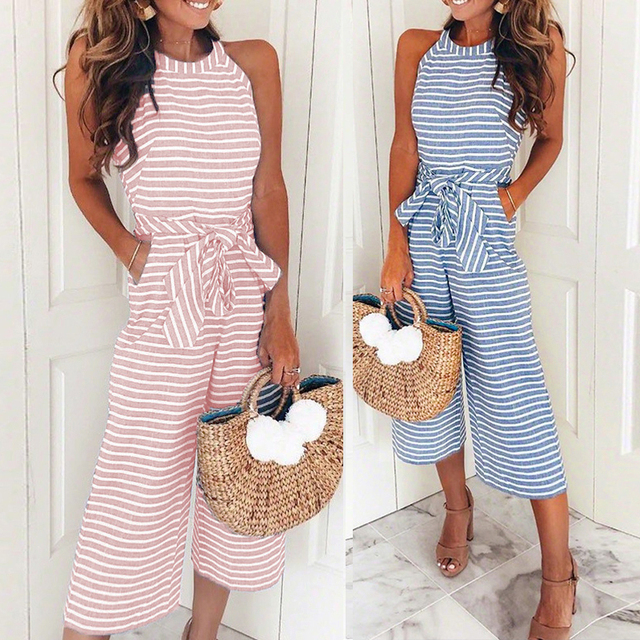 93a9442eed1eab Plus Size Striped Wide Leg Jumpsuits Women Summer Sleeveless O-neck Pockets  Rompers Bowknot Pants Overalls
