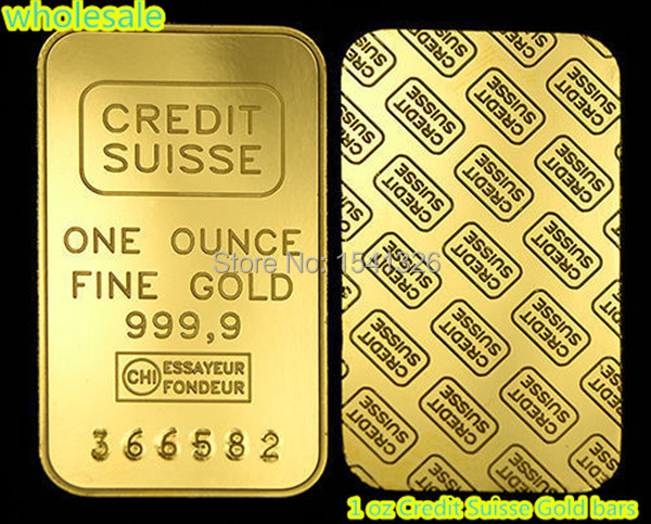 free shipping 20pcs/lot 1 oz Credit Suisse Gold bars 24k Pure Gold Plated Layered Bullion Bar Ingot Replica coin