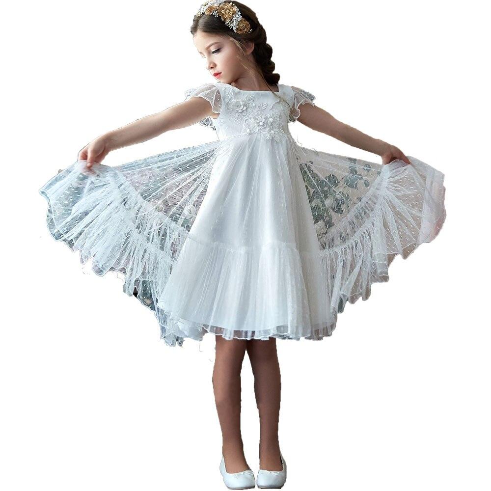 Vintage Pink   Flower     Girl     Dresses   for Wedding Kids Party   Dress   for   Girls   5 7 9 10 years Lace Tulle White   Flower     Girl     Dresses   Boho