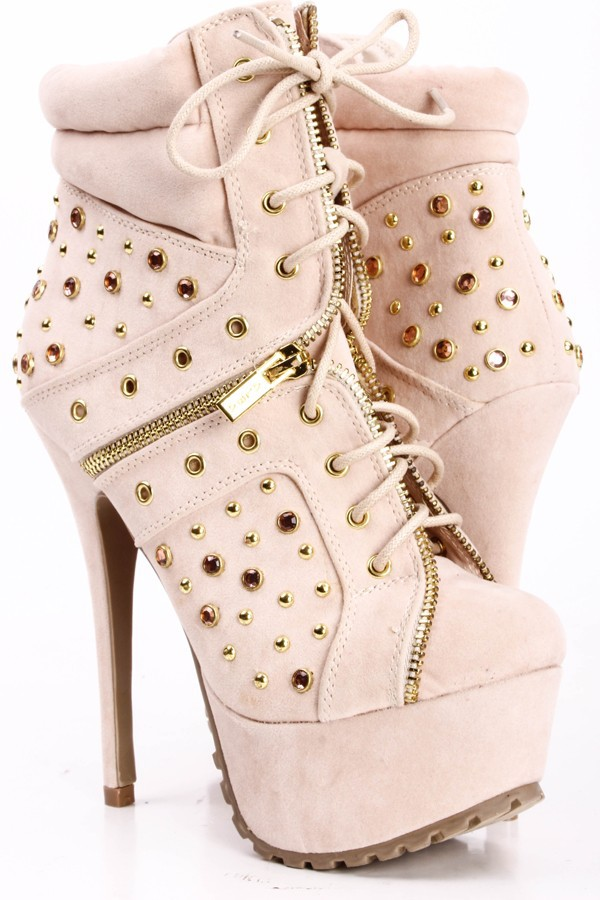 New Platforms Rivets Lace Up Charm Leather Big Size Ankle Rubber High Heels Boots Women Shoes sapatos femininos botas femininas