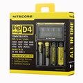 100% Nova Nitecore D4 Digicharger LCD Seguro Global de Circuito Inteligente de iões de lítio 18650 14500 16340 26650 Carregador de Bateria