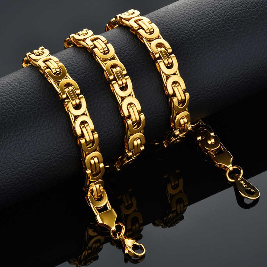 Moda luksusowa moda męska złoty łańcuszek naszyjnik bizantyjski łańcuchy ze stali nierdzewnej ulica Hip Hop biżuteria