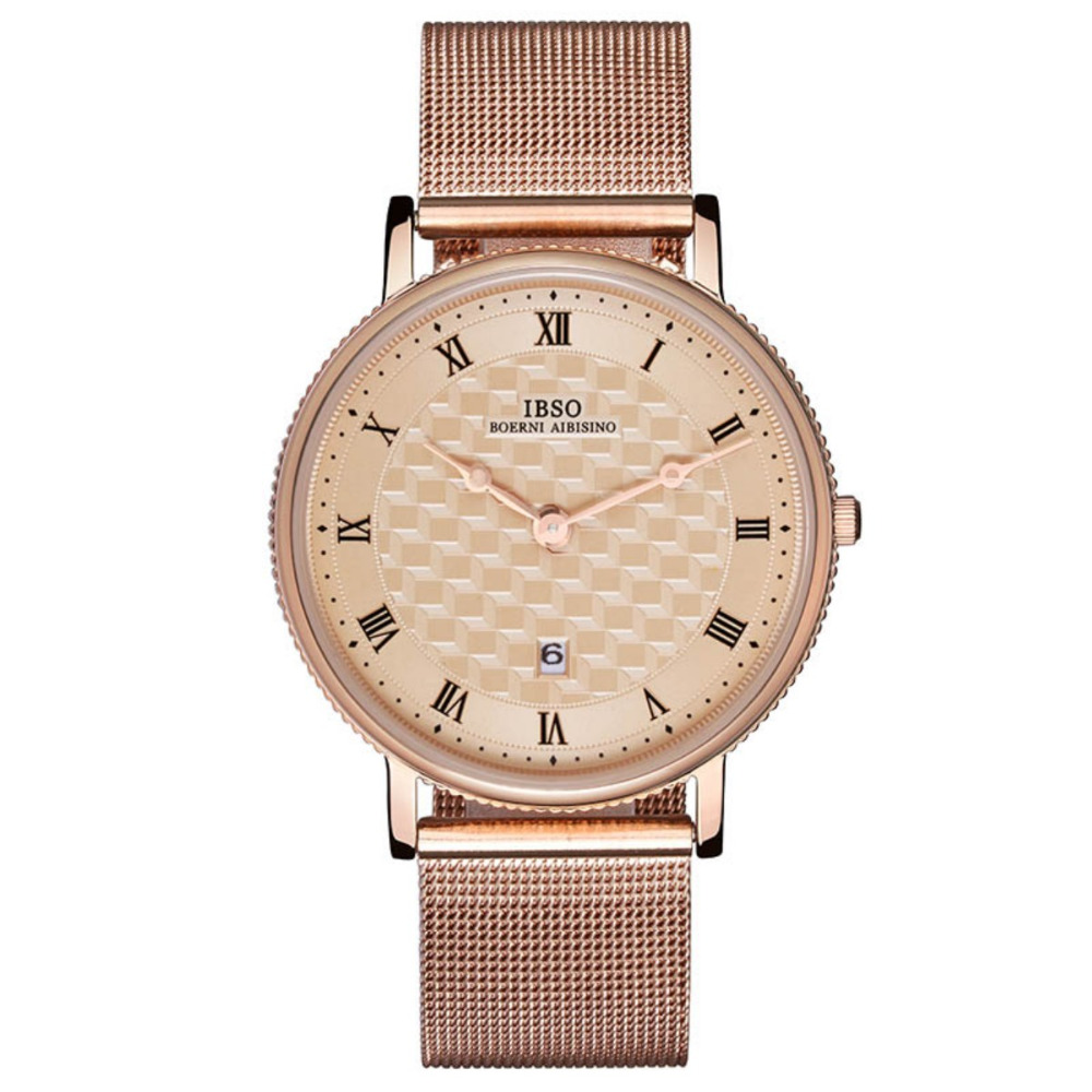 IBSO Fashion Classic Vintage Rose Gold Steel Ultra Thin Watches for Men Casual Gent Wrist Watch Waterproof 8266IBSO Fashion Classic Vintage Rose Gold Steel Ultra Thin Watches for Men Casual Gent Wrist Watch Waterproof 8266