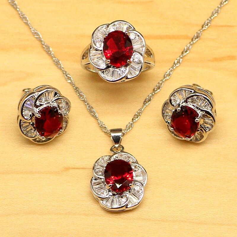 Naturel rouge Aarnet blanc Zircon femmes 925 bijoux en argent Sterling ensembles boucles d'oreilles/pendentif/collier/anneaux gratuit Boite Cadeau T045