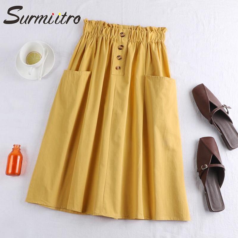 Surmiitro Midi Knee Length Cotton Summer Skirt Women 2019 Fashion Button Pocket A-line High Waist Sun School Skirt Female