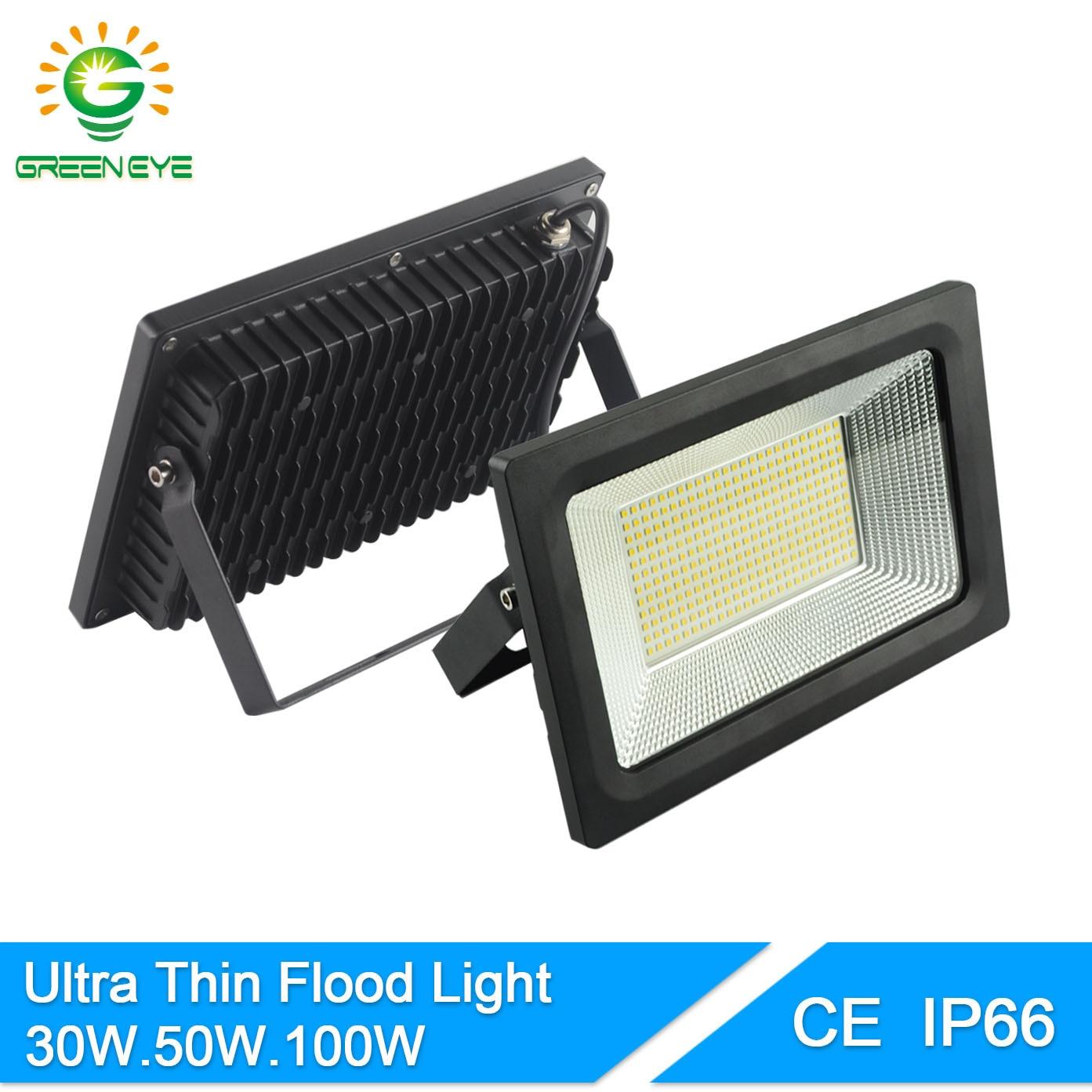 greeneye ip66 waterproof ultra thin 185 240v led floodlight 30w 50w 100w spot led 220v flood. Black Bedroom Furniture Sets. Home Design Ideas