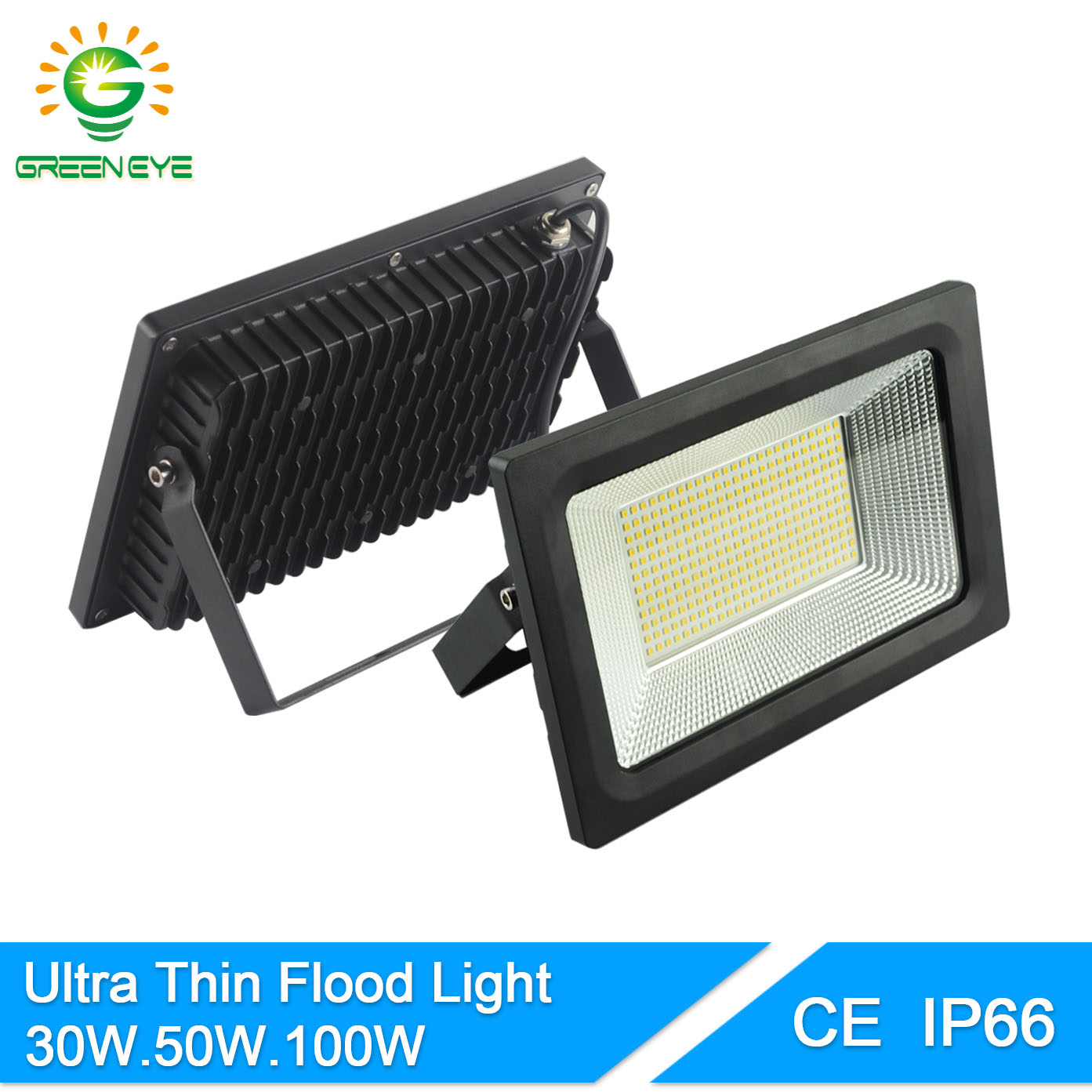 GreenEye IP66 Waterproof Ultra Thin 185-240V LED FloodLight 30W 50W 100W Spot LED 220V Flood Light Spotlight Outdoor Garden IP65