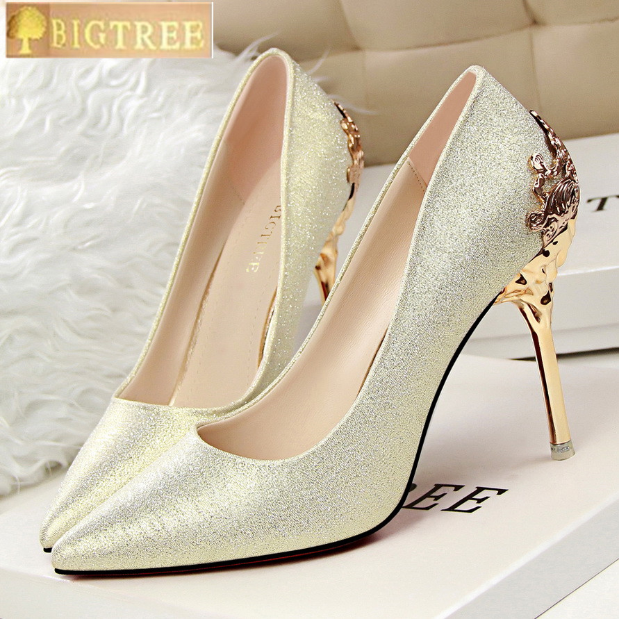 BIGTREE women pumps Scrub Wedding shoes Gold Bridal shoes metal Openwork 10CM Thin High-heeled Suede Pointed women's shoes