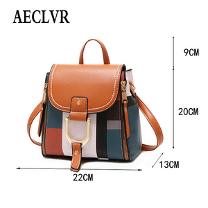 Image 2 - AECLVR Women Backpack Designer High Quality PU Leather Female Bag Fashion School Bags Large Capacity Backpacks Travel Bags