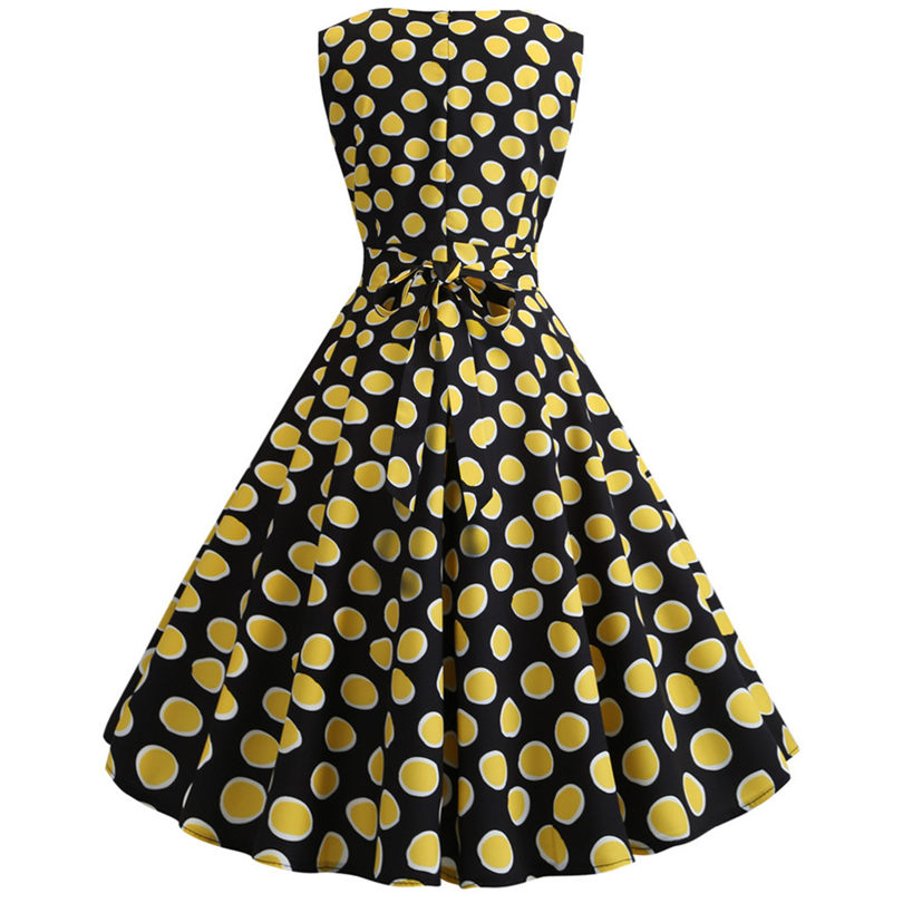 New Womens Casual Elegant Vintage Fashion Summer Sexy Printing Bodycon Sleeveless Evening Party Prom Swing Dress #4A23 (3)